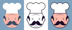 Vector cartoon set of chefs with mustache and hat Stock Illustration