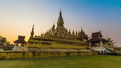 Hyperlapse Pha That Luang Vientiane Grate Stupa Of Vientiane, Laos (D2N) Stock Footage