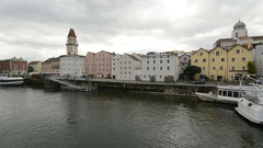 Moving shot of Passau, Germany from the Danube River Stock Footage