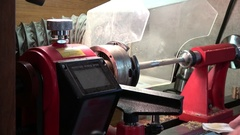 Pen Turning with a Lathe-Polishing Stage Stock Footage