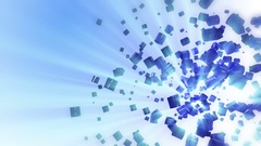 Weightlessness. Rotating blue cylinders on light blue background. 3D  Stock Footage
