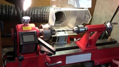 Pen Turning with a Lathe-Drilling Stock Footage