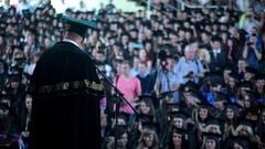 Speech, diploma awarding, the audience applause Stock Footage