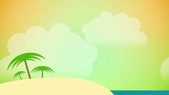 Flat Vector Loopable Summer Background version 2 Stock Footage
