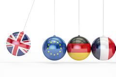 Great Britain, EU, Germany, France political relation concept. 3D rendering Stock Illustration