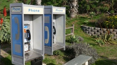 Public Pay Phone Booths Coin Operated Outdoors Static Shot 4k Stock Footage