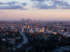 Los Angeles Day To Night Sunset Timelapse From Hollywood Bowl Overlook Stock Footage