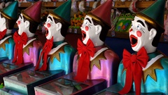 Iconic laughing clowns game stand Stock Footage