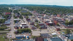 Marquette Town Aerial Fly Over Stock Footage