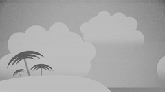 Flat Vector Summer Background Black and White Version Stock Footage