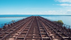 Flying Along Top Of Marquette Ore Dock Stock Footage