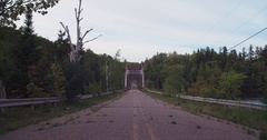 Old Dead River Bridge Extreme Wide Static Stock Footage
