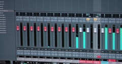 Mixing Board. Sweeping across the master controls of a professional sound mixing Stock Footage