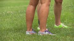 Female joggers legs Stock Footage