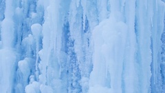 Icy waterfall close-up, blue ice mountain. Stock Footage