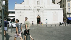 Church Marseille, France street view people Stock Footage