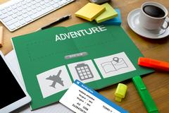 Touch Online holiday reservation booking interface to go trip adventure Stock Photos