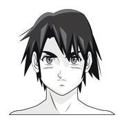 Face boy anime manga comic cartoon Piirros