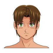 Portrait face manga anime boy brown hair green eyes Piirros