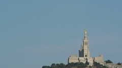 Pan from Majestic Notre-Dame de la Garde (Basilica of Our Lady of the Guard) Stock Footage
