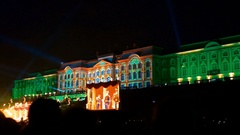 3d Mapping Laser Show at Peterhof, St.petersburg, Russia Stock Footage