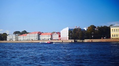 Neva River Embankment in St.petersburg, Russia, View From Opposite Bank Stock Footage