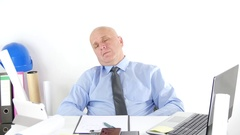 Overworked Technical Manager Fall Asleep at Office After a Long Working Program. Stock Footage
