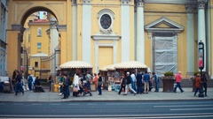 Art Fair at Nevsky Avenue in St.petersburg Stock Footage