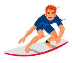 Young surfer standing on the board Stock Illustration