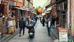 Bazaar at Divanyoulu Caddesi in Istanbul, Turkey Stock Footage