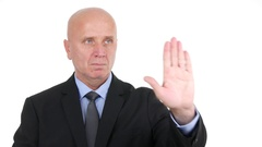 Employee Showing Stop Hand Sign with a Serious Negation and Refuse Gesture. Stock Footage