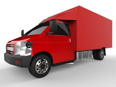 Small red truck. Car delivery service. Delivery of goods and products to retail Piirros