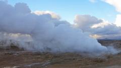 Geothermal area Gunnuhver on Reykjanes peninsula, Iceland, Martian landscape Stock Footage