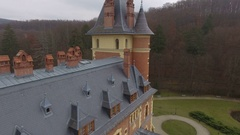 Aerial 4k drone shot above a castle Stock Footage