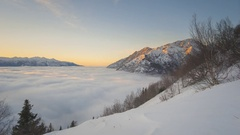 Fog over the Turnagain Arm, Alaska Stock Footage