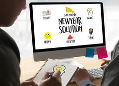 NewYear  Solution  for Goals Start Your Life lifestyle begin Beginning busi.. Kuvituskuvat