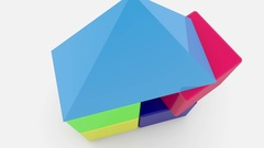 Toy cubes with roof stacked on white Stock Footage