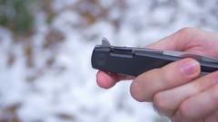 Stiletto  criminal knife switch stileto Stock Footage