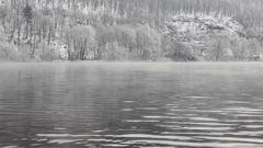 Misty winter morning on Vltava river Stock Footage