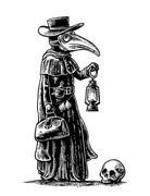 Plague, doctor with bird mask,suitcase, lantern, garlic and hat. Engraving Stock Illustration