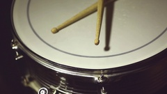 Snare drum and drum sticks Stock Footage