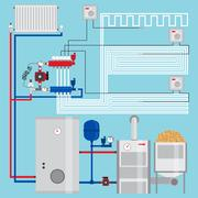Energy-saving heating system with thermostats. Smart House.  Pellet boiler,.. Piirros