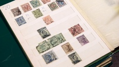 Old vintage stamp collection book Stock Footage