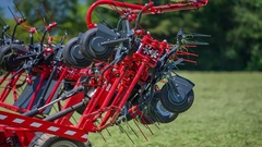 Big agricultural machinery is folding up Stock Footage