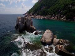 4K Drone; Tanote Bay Rocks, Koh Tao, Thailand Stock Footage