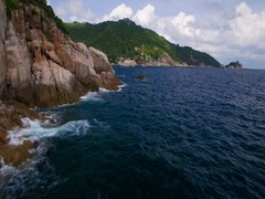 4K Drone; Tanote Bay Fly-in, Koh Tao, Thailand Stock Footage