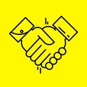 Partnership or Handshake line icon. Stock Illustration
