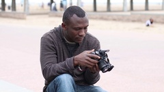 Photographer taking pictures 01 Stock Footage