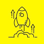 Space rocket launch line icon. Piirros
