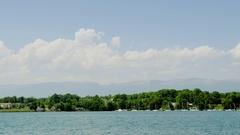 Waterside of Lake Geneva Stock Footage